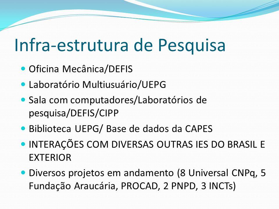 Infra-estrutura de Pesquisa Oficina Mecânica/DEFIS Laboratório Multiusuário/UEPG Sala com computadores/Laboratórios de pesquisa/DEFIS/CIPP Biblioteca