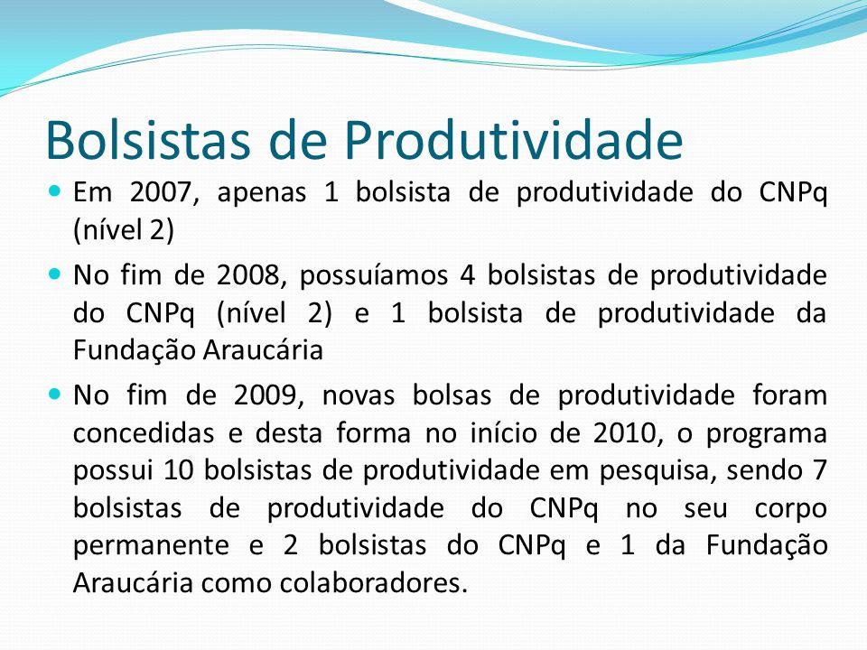 Bolsistas de Produtividade Em 2007, apenas 1 bolsista de produtividade do CNPq (nível 2) No fim de 2008, possuíamos 4 bolsistas de produtividade do CN