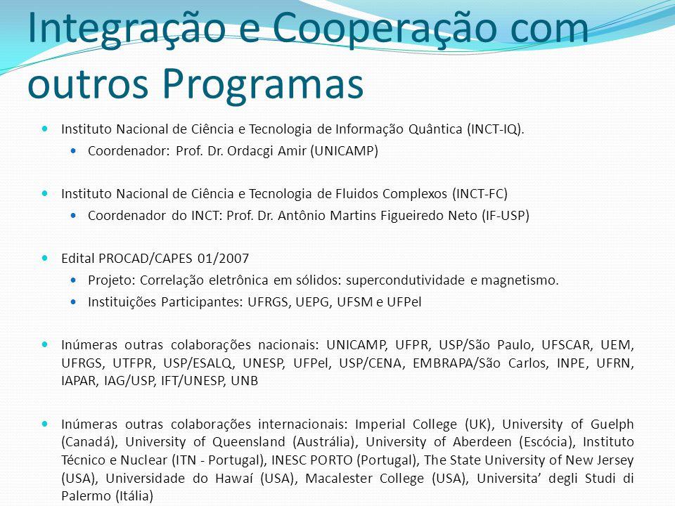 Integração e Cooperação com outros Programas Instituto Nacional de Ciência e Tecnologia de Informação Quântica (INCT-IQ). Coordenador: Prof. Dr. Ordac