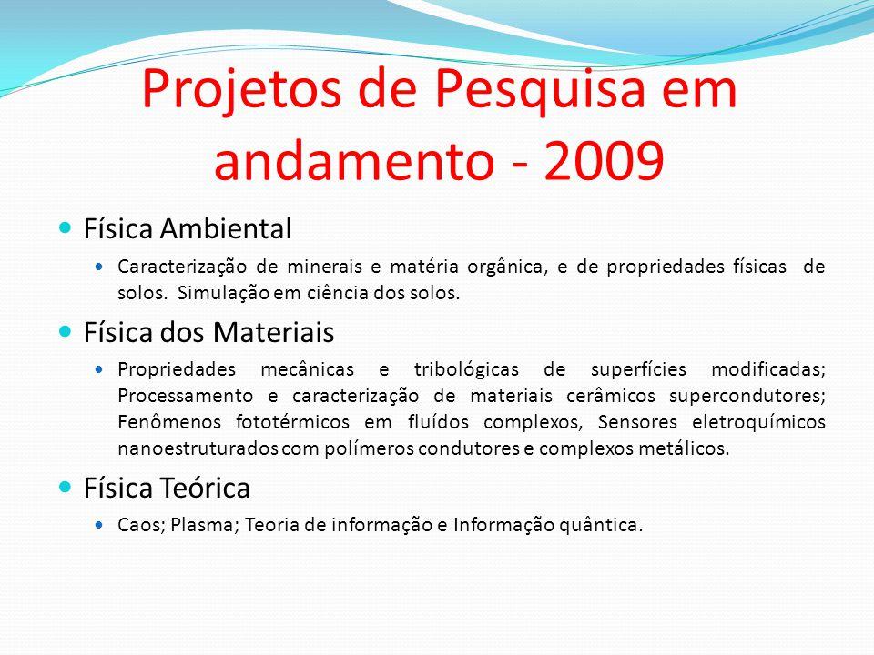 Projetos de Pesquisa em andamento - 2009 Física Ambiental Caracterização de minerais e matéria orgânica, e de propriedades físicas de solos. Simulação