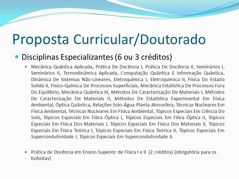 Disciplinas Especializantes (6 ou 3 créditos) Mecânica Quântica Aplicada, Prática De Docência I, Prática De Docência II, Seminários I, Seminários II,