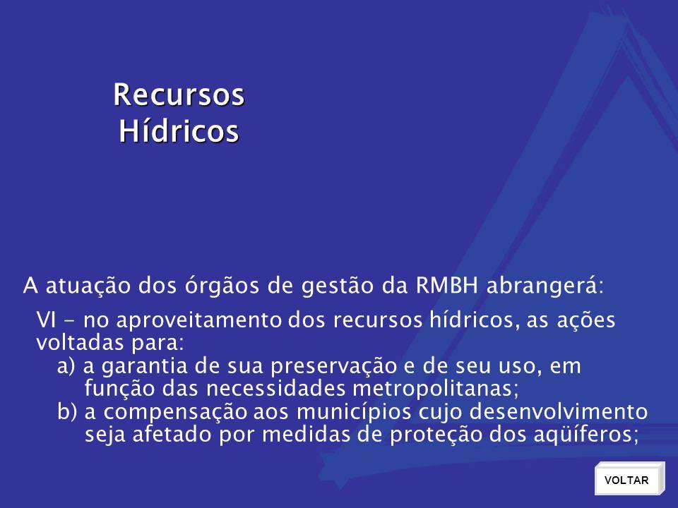 Recursos Hídricos VOLTAR VI - no aproveitamento dos recursos hídricos, as ações voltadas para: a) a garantia de sua preservação e de seu uso, em funçã