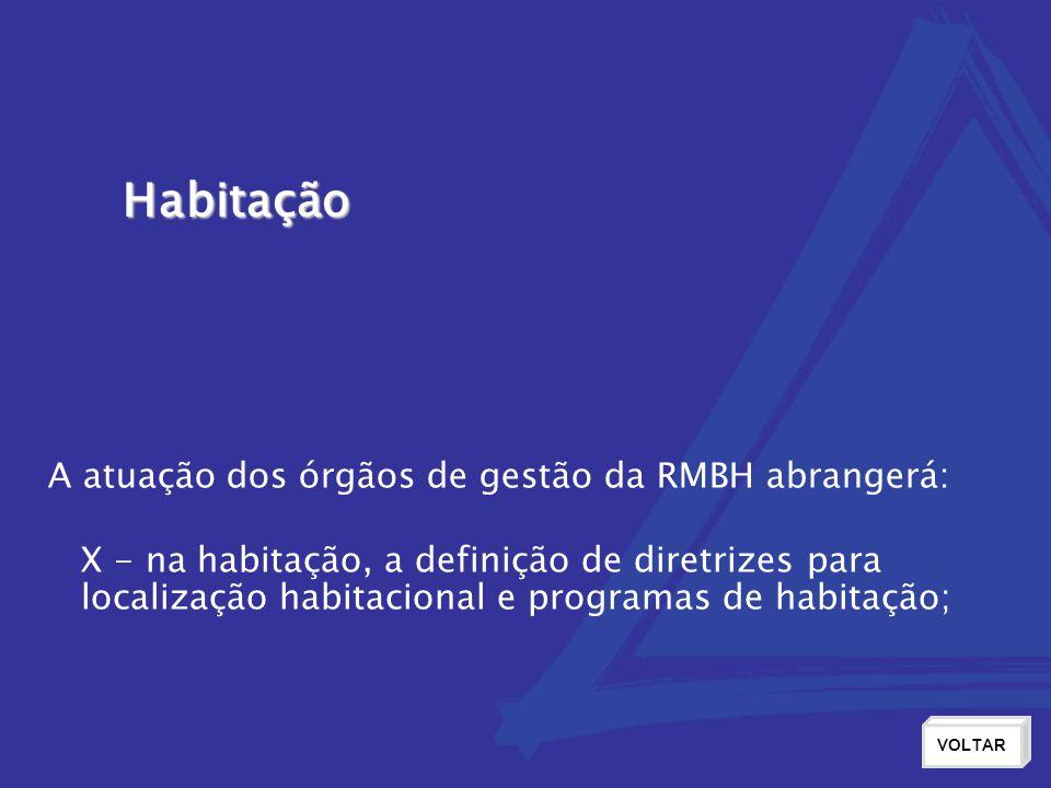 Habitação VOLTAR X - na habitação, a definição de diretrizes para localização habitacional e programas de habitação; A atuação dos órgãos de gestão da