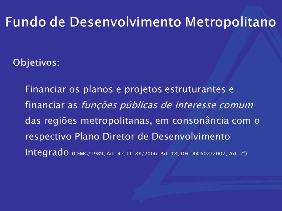 Fundo de Desenvolvimento Metropolitano Financiar os planos e projetos estruturantes e financiar as funções públicas de interesse comum das regiões metropolitanas, em consonância com o respectivo Plano Diretor de Desenvolvimento Integrado (CEMG/1989, Art.