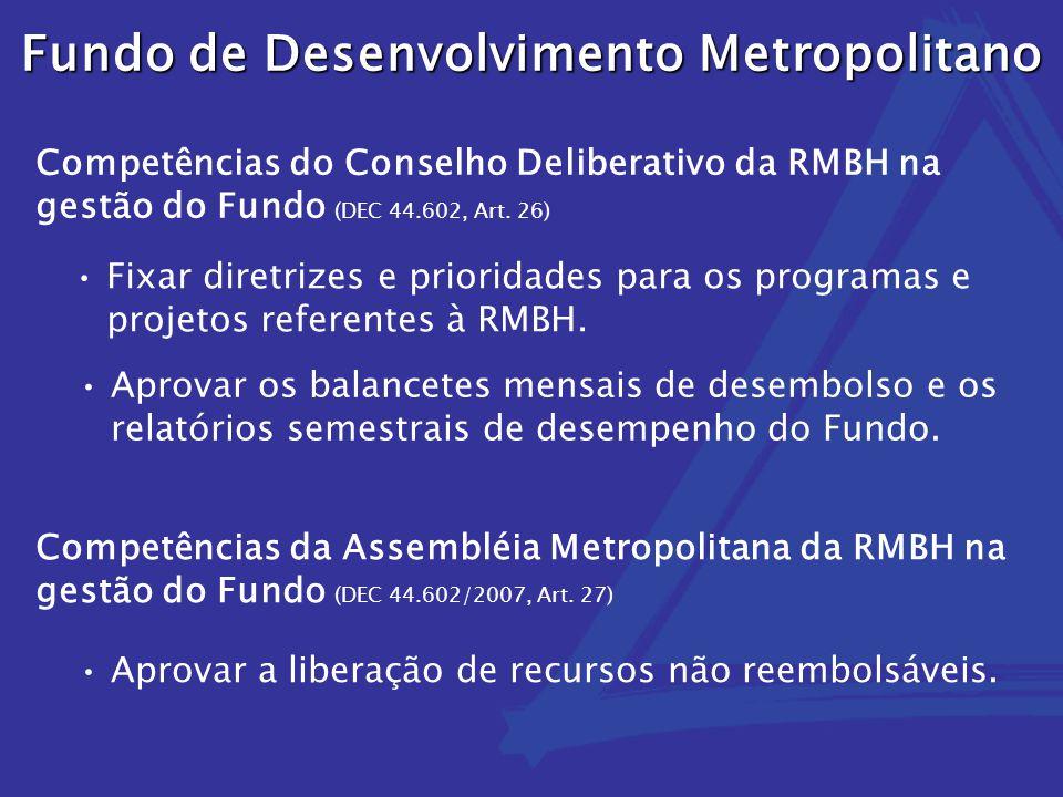 Fixar diretrizes e prioridades para os programas e projetos referentes à RMBH. Aprovar os balancetes mensais de desembolso e os relatórios semestrais