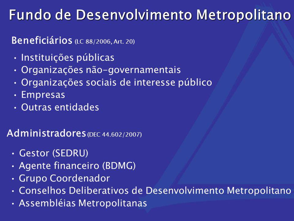 Instituições públicas Organizações não-governamentais Organizações sociais de interesse público Empresas Outras entidades Fundo de Desenvolvimento Met