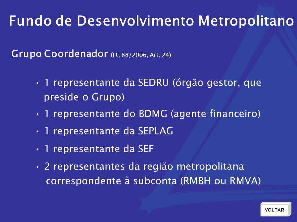 Fundo de Desenvolvimento Metropolitano Grupo Coordenador (LC 88/2006, Art. 24) 1 representante da SEDRU (órgão gestor, que preside o Grupo) 1 repres