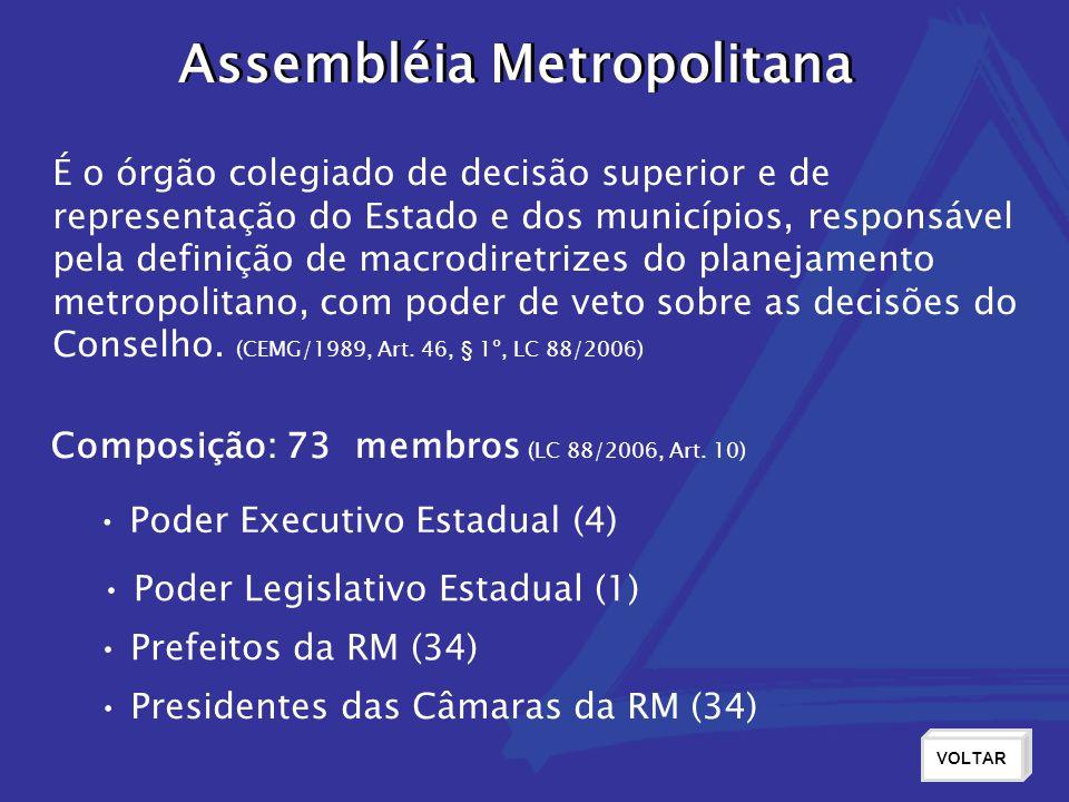 Assembléia Metropolitana É o órgão colegiado de decisão superior e de representação do Estado e dos municípios, responsável pela definição de macrodir