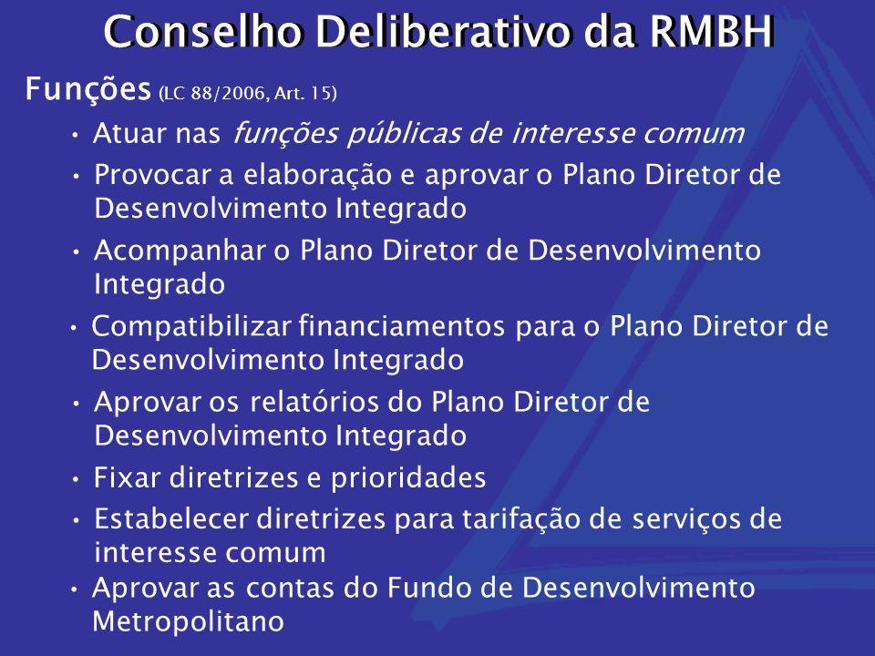 Conselho Deliberativo da RMBH Compatibilizar financiamentos para o Plano Diretor de Desenvolvimento Integrado Acompanhar o Plano Diretor de Desenvolvimento Integrado Atuar nas funções públicas de interesse comum Aprovar os relatórios do Plano Diretor de Desenvolvimento Integrado Provocar a elaboração e aprovar o Plano Diretor de Desenvolvimento Integrado Funções (LC 88/2006, Art.