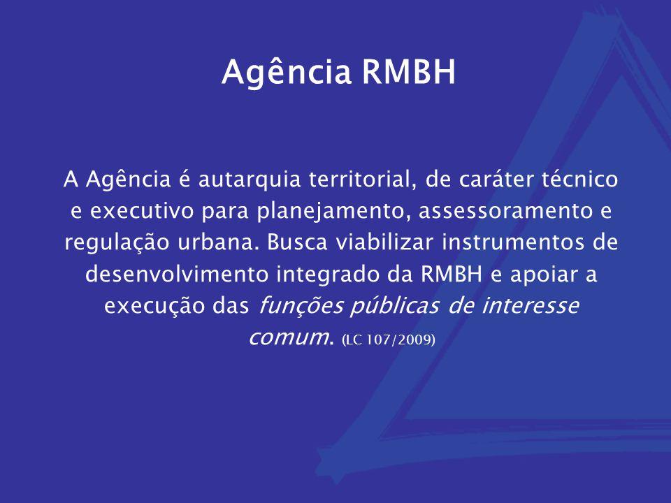 Agência RMBH A Agência é autarquia territorial, de caráter técnico e executivo para planejamento, assessoramento e regulação urbana. Busca viabilizar