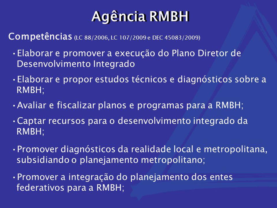 Agência RMBH Competências (LC 88/2006, LC 107/2009 e DEC 45083/2009) Elaborar e promover a execução do Plano Diretor de Desenvolvimento Integrado Elaborar e propor estudos técnicos e diagnósticos sobre a RMBH; Avaliar e fiscalizar planos e programas para a RMBH; Captar recursos para o desenvolvimento integrado da RMBH; Promover diagnósticos da realidade local e metropolitana, subsidiando o planejamento metropolitano; Promover a integração do planejamento dos entes federativos para a RMBH;