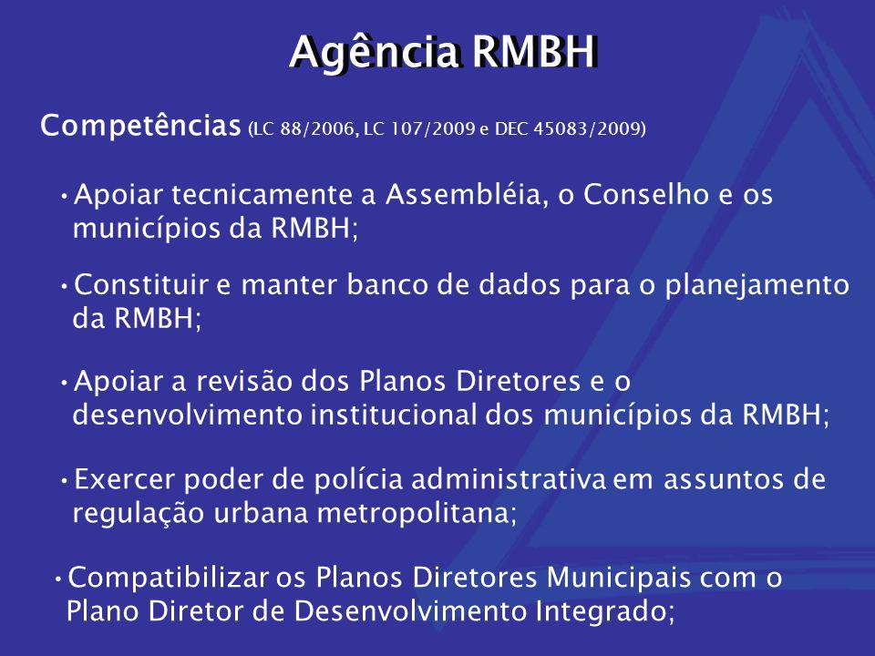 Agência RMBH Competências (LC 88/2006, LC 107/2009 e DEC 45083/2009) Apoiar tecnicamente a Assembléia, o Conselho e os municípios da RMBH; Constituir
