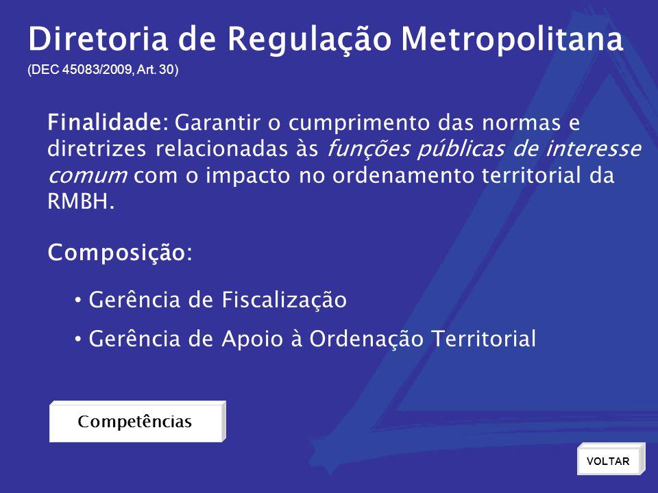 Diretoria de Regulação Metropolitana (DEC 45083/2009, Art. 30) Finalidade: Garantir o cumprimento das normas e diretrizes relacionadas às funções púb