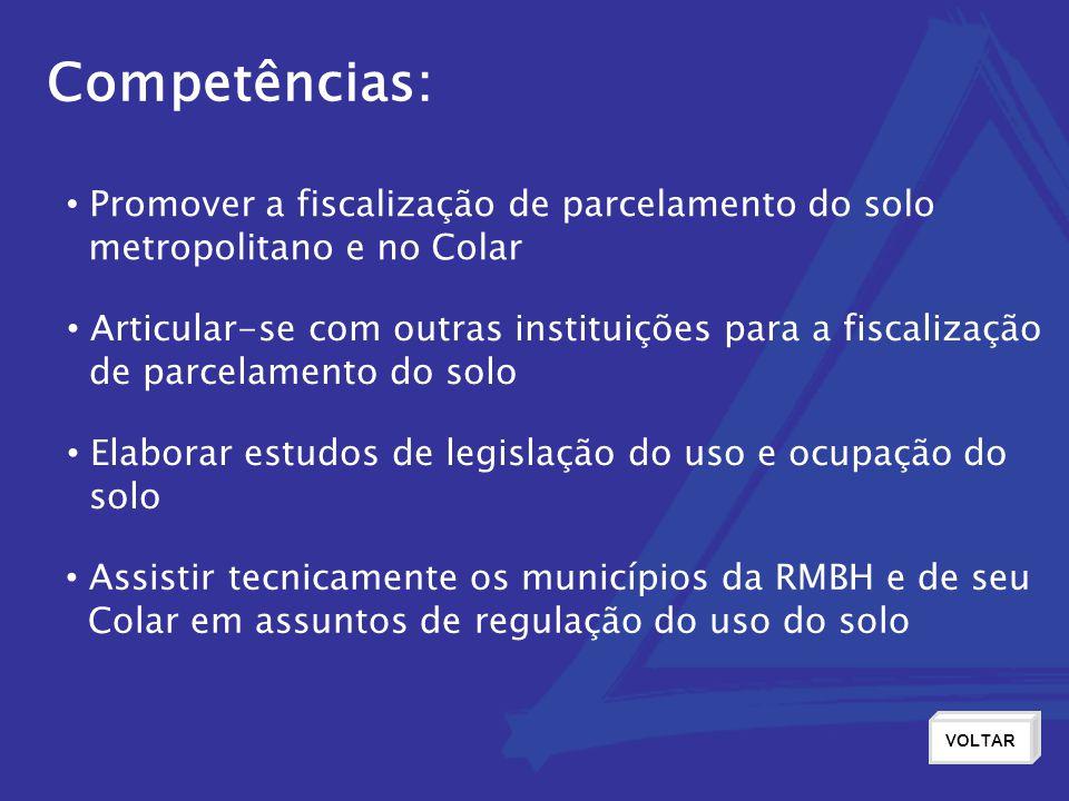 Competências: Promover a fiscalização de parcelamento do solo metropolitano e no Colar Articular-se com outras instituições para a fiscalização de par