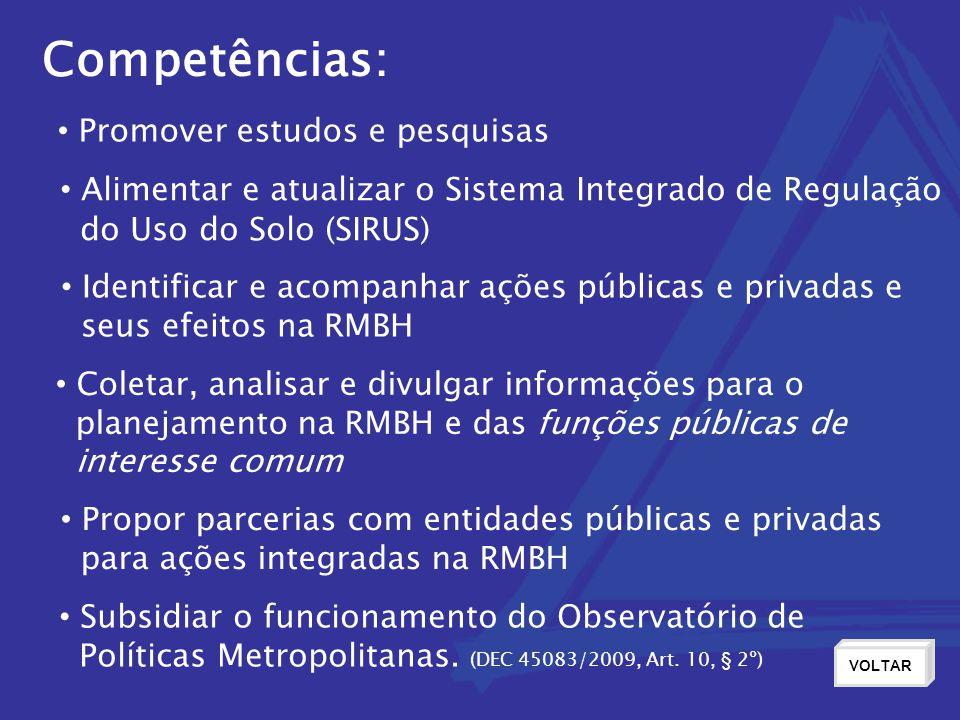 Competências: Promover estudos e pesquisas Alimentar e atualizar o Sistema Integrado de Regulação do Uso do Solo (SIRUS) Identificar e acompanhar açõ