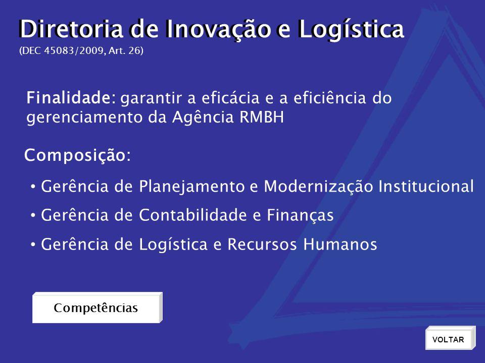 Diretoria de Inovação e Logística (DEC 45083/2009, Art. 26) Finalidade: garantir a eficácia e a eficiência do gerenciamento da Agência RMBH Composiçã