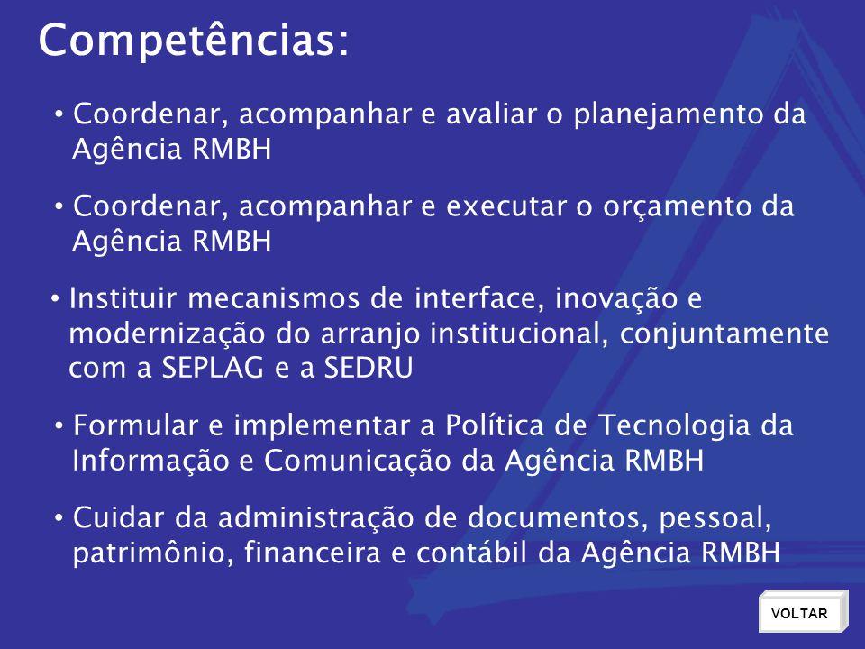 Competências: Coordenar, acompanhar e avaliar o planejamento da Agência RMBH Coordenar, acompanhar e executar o orçamento da Agência RMBH Instituir mecanismos de interface, inovação e modernização do arranjo institucional, conjuntamente com a SEPLAG e a SEDRU VOLTAR Formular e implementar a Política de Tecnologia da Informação e Comunicação da Agência RMBH Cuidar da administração de documentos, pessoal, patrimônio, financeira e contábil da Agência RMBH