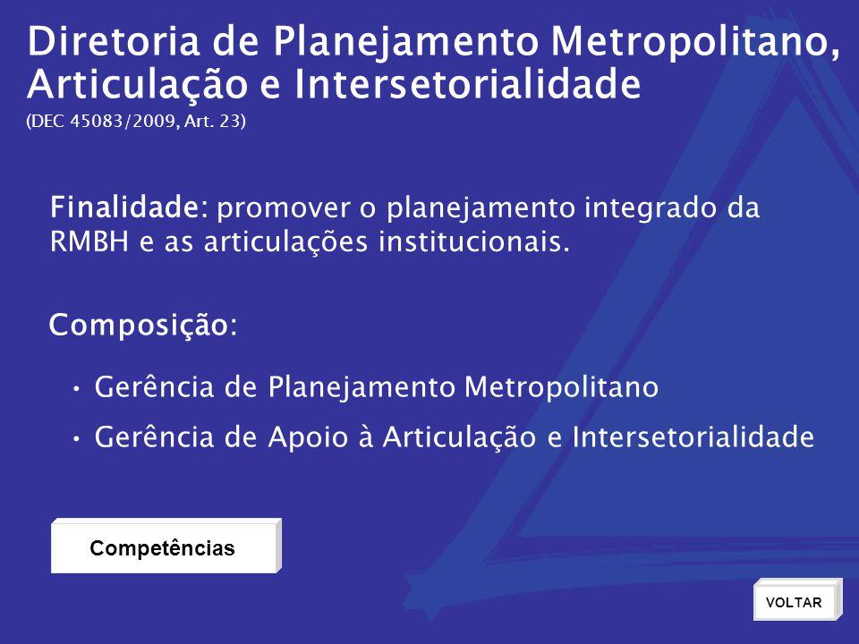Diretoria de Planejamento Metropolitano, Articulação e Intersetorialidade (DEC 45083/2009, Art. 23) Finalidade: promover o planejamento integrado da