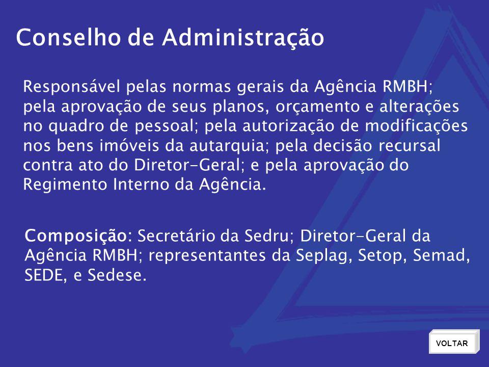 Conselho de Administração VOLTAR Responsável pelas normas gerais da Agência RMBH; pela aprovação de seus planos, orçamento e alterações no quadro de p
