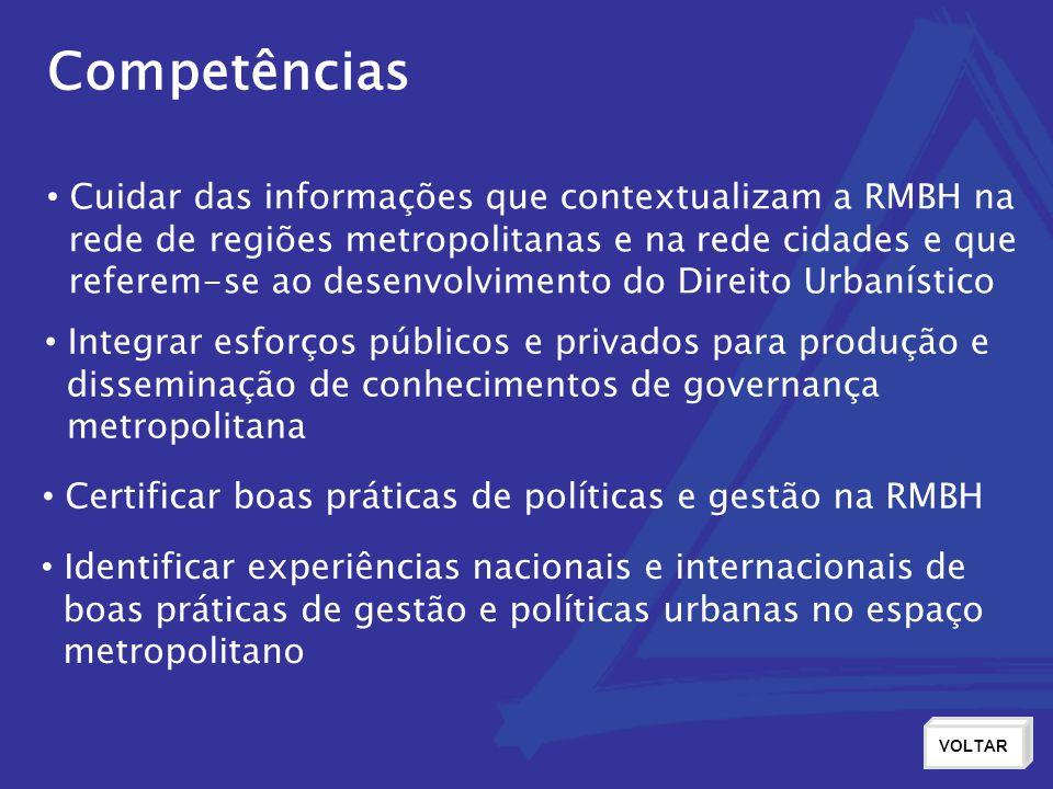 Competências Cuidar das informações que contextualizam a RMBH na rede de regiões metropolitanas e na rede cidades e que referem-se ao desenvolvimento
