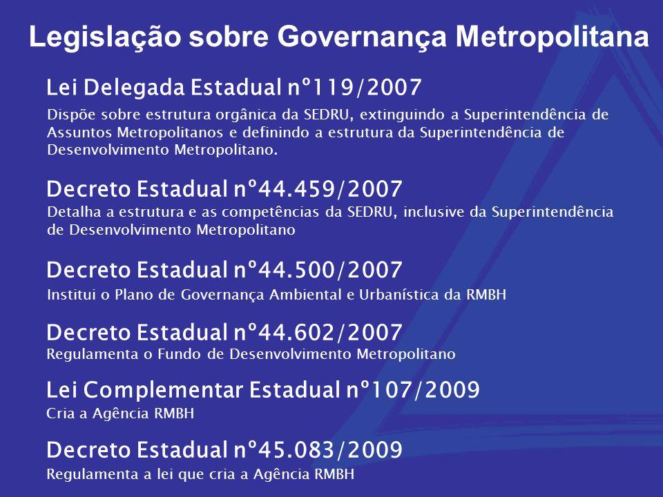 Legislação sobre Governança Metropolitana Dispõe sobre estrutura orgânica da SEDRU, extinguindo a Superintendência de Assuntos Metropolitanos e defini