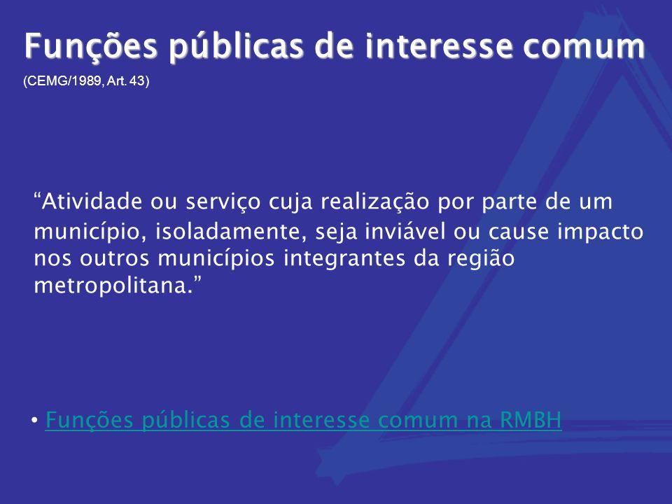 """Funções públicas de interesse comum (CEMG/1989, Art. 43) """"Atividade ou serviço cuja realização por parte de um município, isoladamente, seja inviável"""