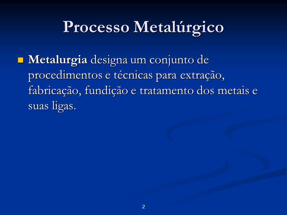Processo Metalúrgico Os primeiros metais a serem descobertos foram os metais nobres, que por não reagirem com outros elementos podiam ser encontrados na sua forma bruta na natureza.