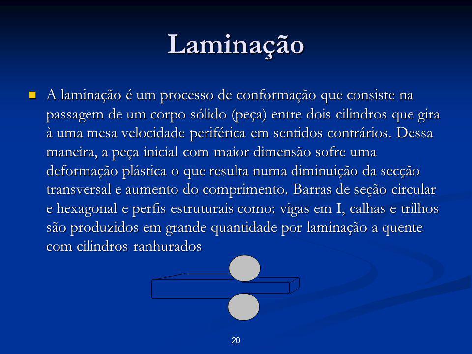 Laminação A laminação é um processo de conformação que consiste na passagem de um corpo sólido (peça) entre dois cilindros que gira à uma mesa velocid