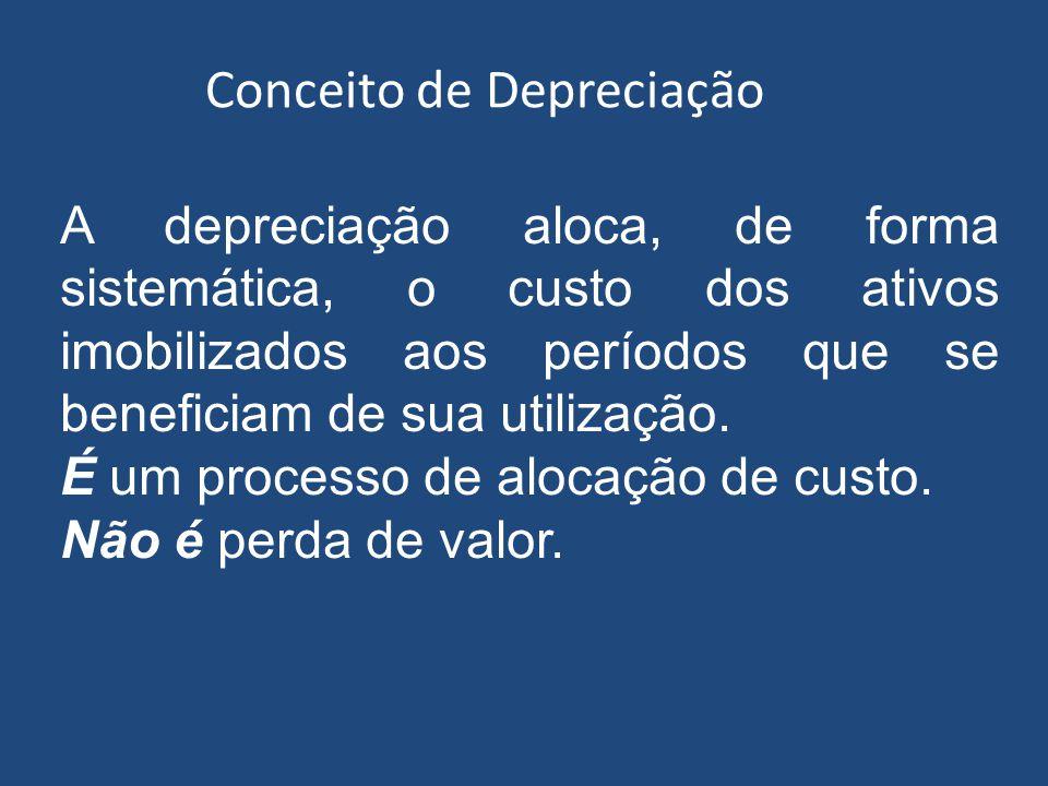 Conceito de depreciação Refere-se ao reconhecimento do consumo dos benefícios econômicos do ativo, que compreende os seguintes fatores: – Uso esperado