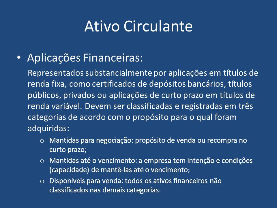 Classificação de Ativo As contas do ATIVO estão dispostas em ordem decrescente de grau de liquidez: ATIVO CIRCULANTE: todos os bens e direitos já conv