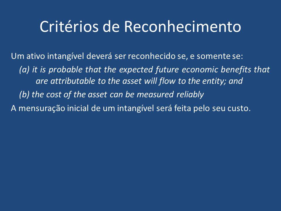 77 Três características devem ser atendidas para que o item seja identificado como um ativo intangível: Identifiability (exceção na business combination ) Control Future economic benefits Características