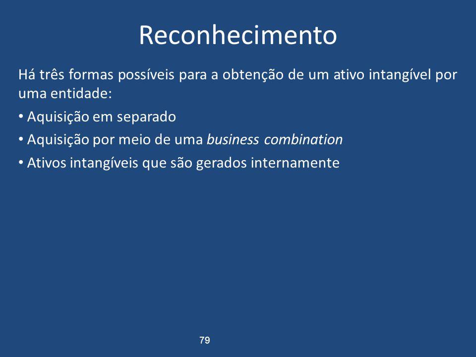 Critérios de Reconhecimento Um ativo intangível deverá ser reconhecido se, e somente se: (a) it is probable that the expected future economic benefits