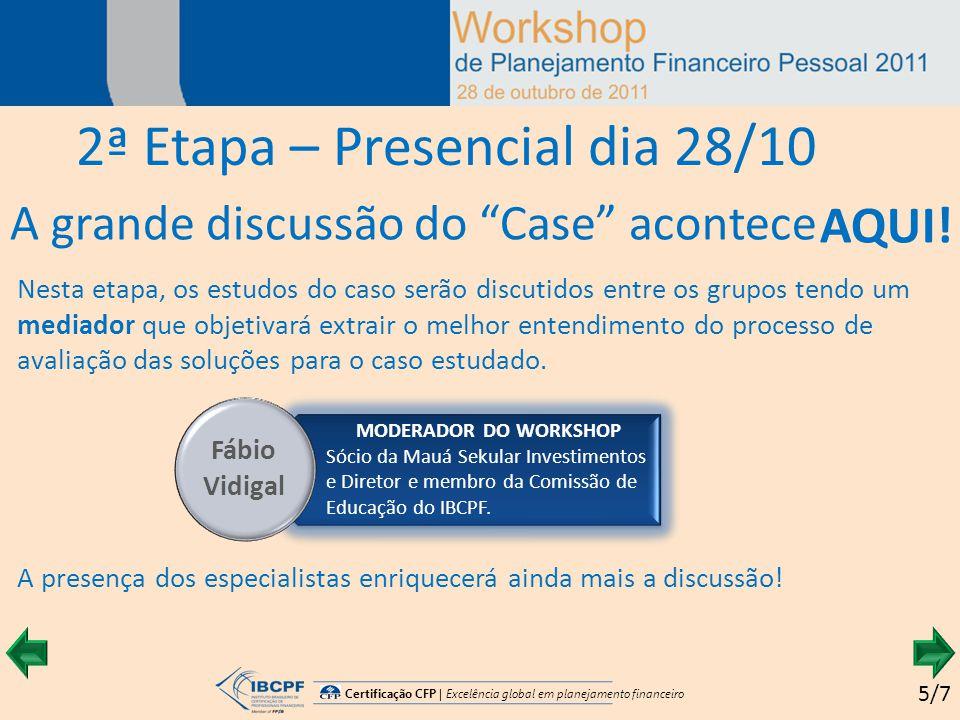 Certificação CFP | Excelência global em planejamento financeiro A grande discussão do Case acontece 2ª Etapa – Presencial dia 28/10 5/7 AQUI.