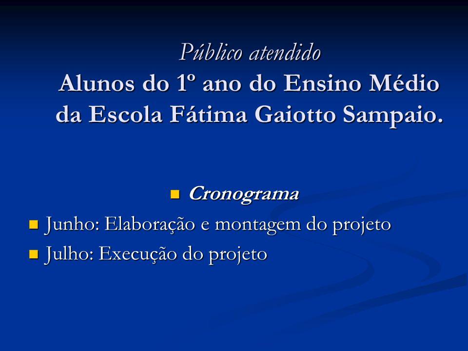 Público atendido Alunos do 1º ano do Ensino Médio da Escola Fátima Gaiotto Sampaio. Cronograma Cronograma Junho: Elaboração e montagem do projeto Junh
