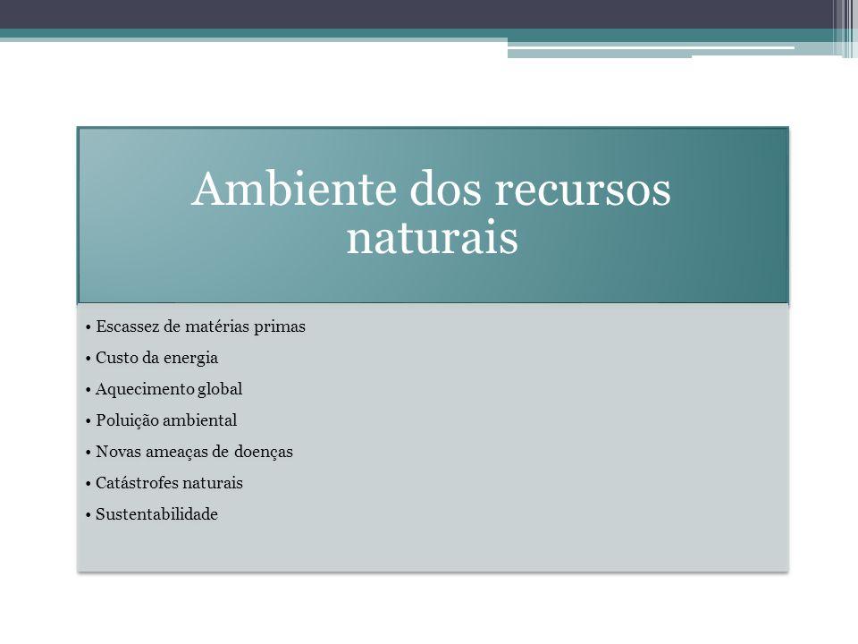 Ambiente dos recursos naturais Escassez de matérias primas Custo da energia Aquecimento global Poluição ambiental Novas ameaças de doenças Catástrofes