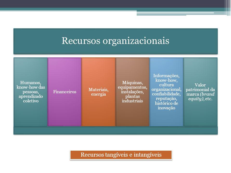 Recursos organizacionais Humanos, know-how das pessoas, aprendizado coletivo Financeiros Materiais, energia Máquinas, equipamentos, instalações, plant
