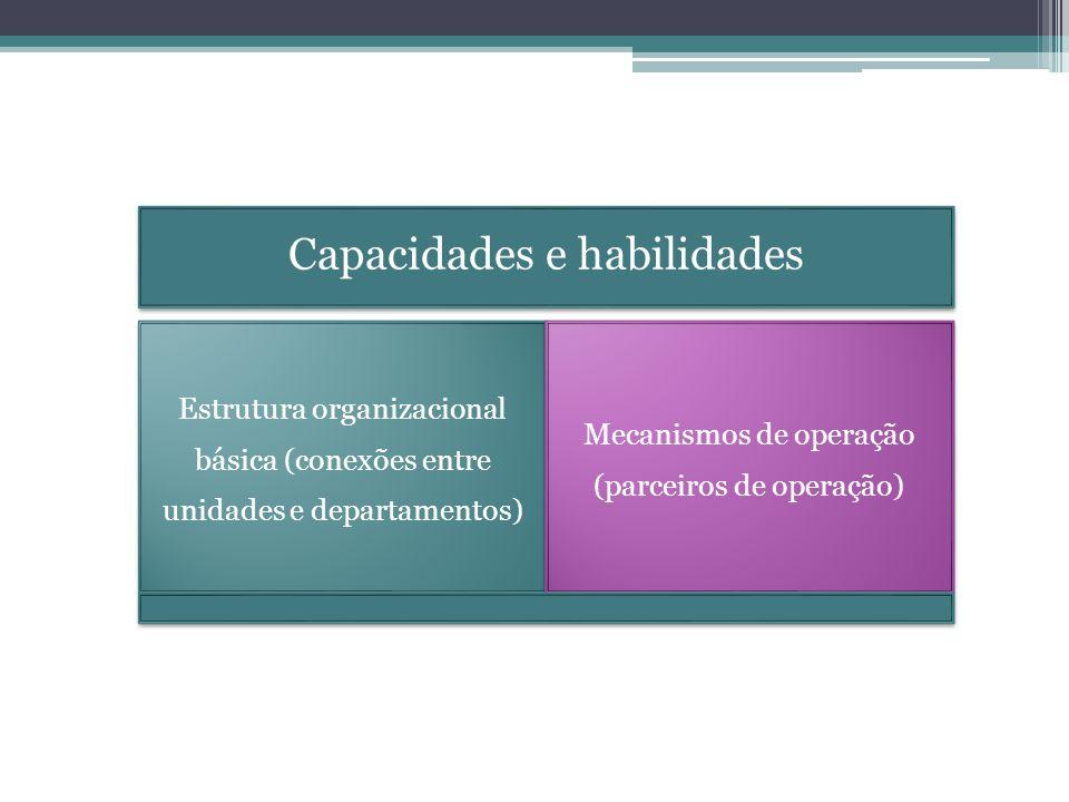 Capacidades e habilidades Estrutura organizacional básica (conexões entre unidades e departamentos) Mecanismos de operação (parceiros de operação)