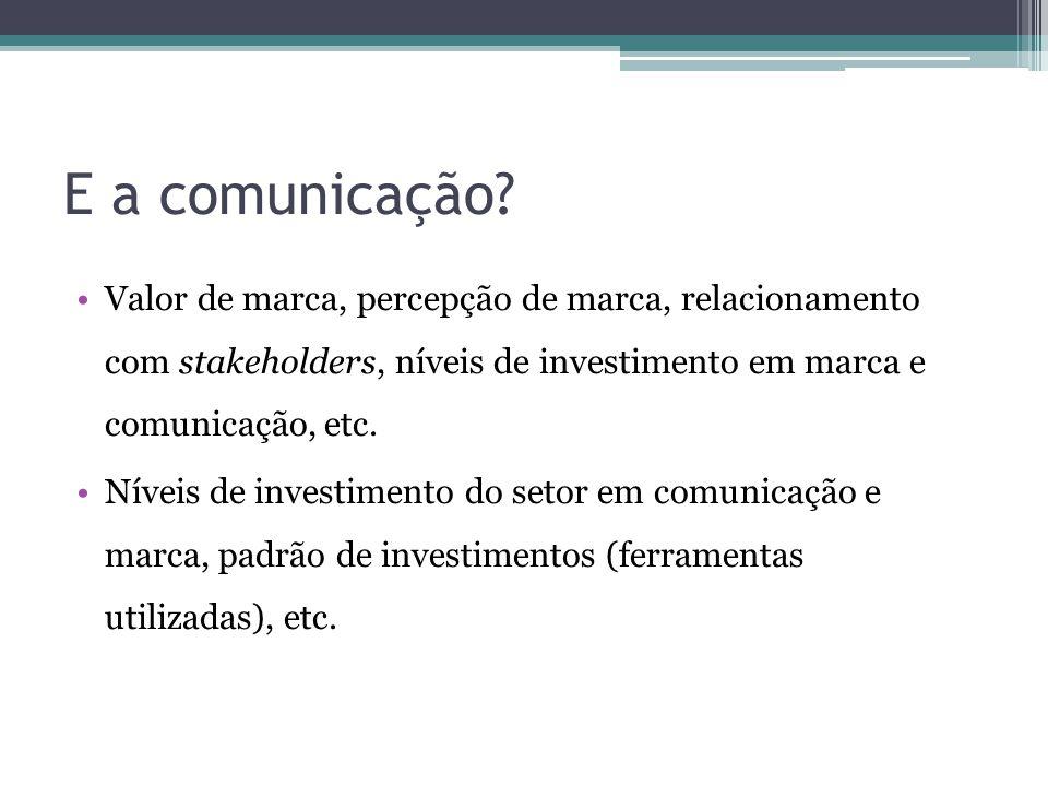 E a comunicação? Valor de marca, percepção de marca, relacionamento com stakeholders, níveis de investimento em marca e comunicação, etc. Níveis de in