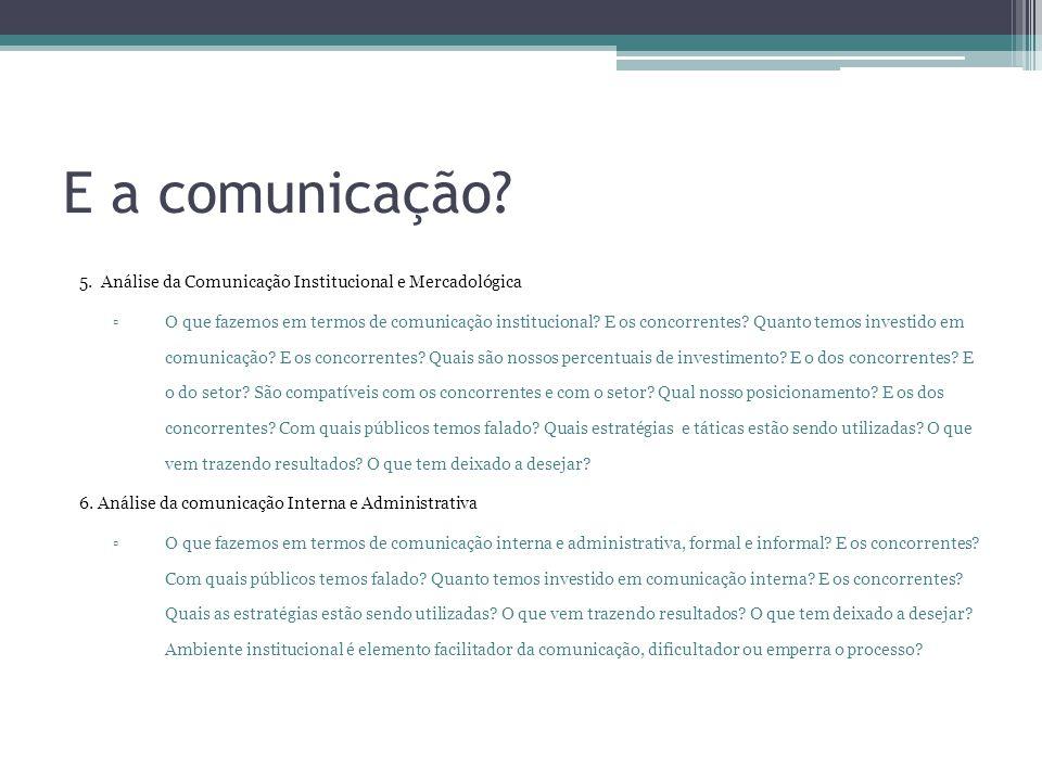 E a comunicação? 5. Análise da Comunicação Institucional e Mercadológica ▫O que fazemos em termos de comunicação institucional? E os concorrentes? Qua