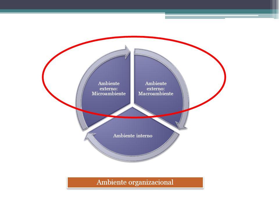Ambiente externo: Macroambiente Ambiente interno Ambiente externo: Microambiente Ambiente organizacional