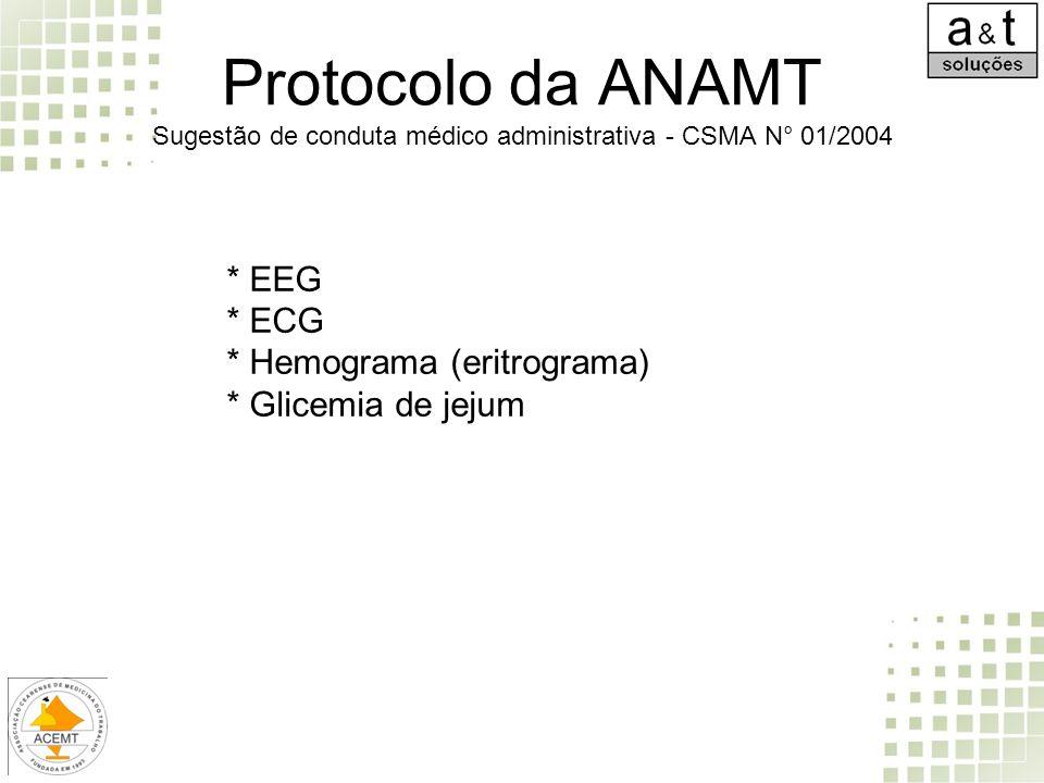 Protocolo da ANAMT Sugestão de conduta médico administrativa - CSMA N° 01/2004 * EEG * ECG * Hemograma (eritrograma) * Glicemia de jejum