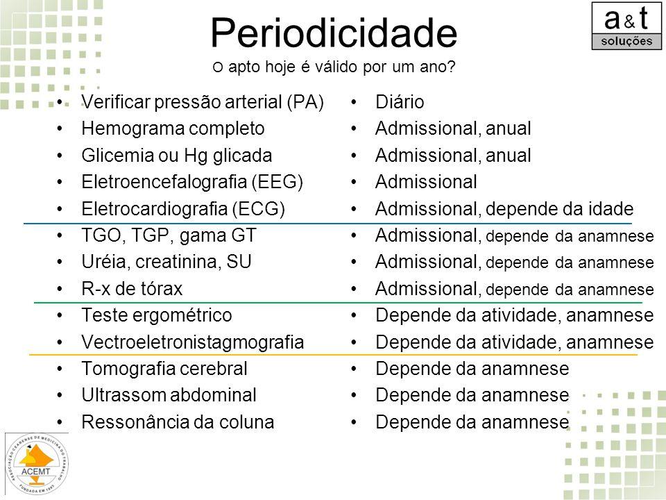 Periodicidade O apto hoje é válido por um ano? Verificar pressão arterial (PA) Hemograma completo Glicemia ou Hg glicada Eletroencefalografia (EEG) El