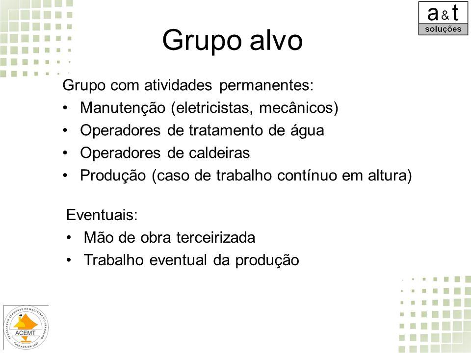 Grupo alvo Grupo com atividades permanentes: Manutenção (eletricistas, mecânicos) Operadores de tratamento de água Operadores de caldeiras Produção (c