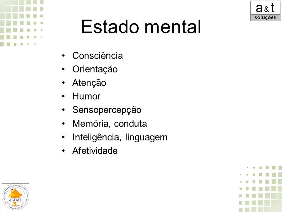 Estado mental Consciência Orientação Atenção Humor Sensopercepção Memória, conduta Inteligência, linguagem Afetividade
