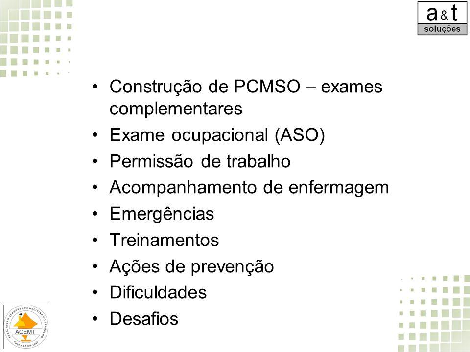 Construção de PCMSO – exames complementares Exame ocupacional (ASO) Permissão de trabalho Acompanhamento de enfermagem Emergências Treinamentos Ações