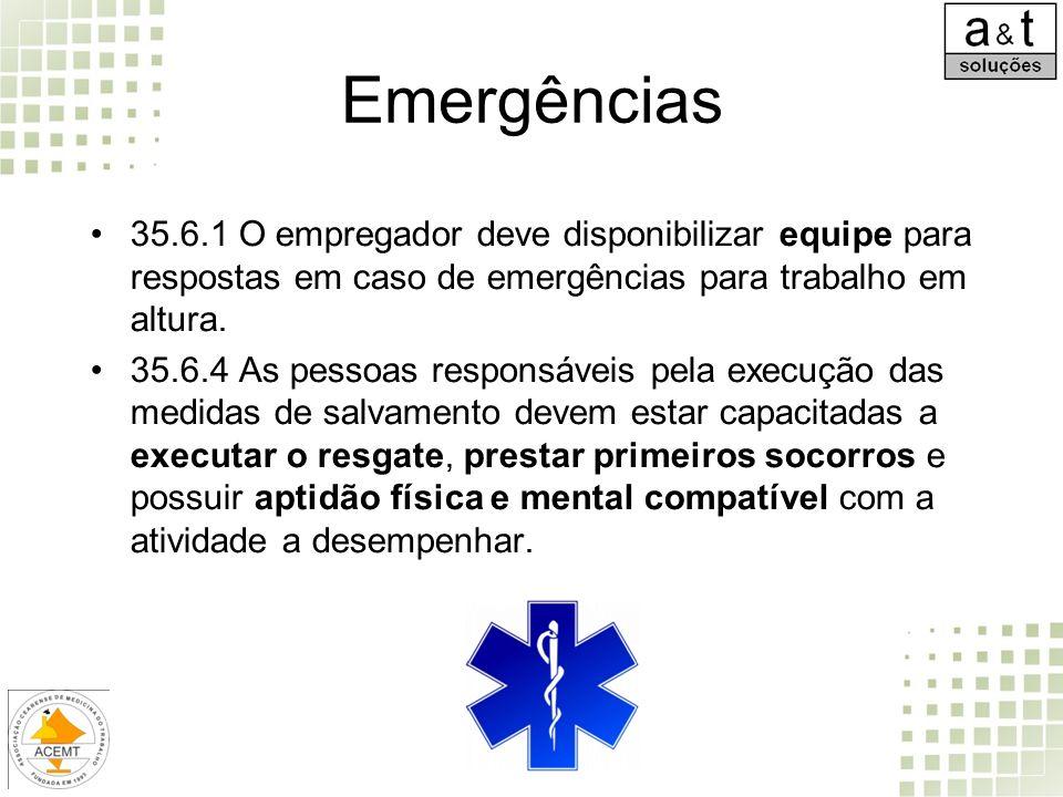 Emergências 35.6.1 O empregador deve disponibilizar equipe para respostas em caso de emergências para trabalho em altura. 35.6.4 As pessoas responsáve