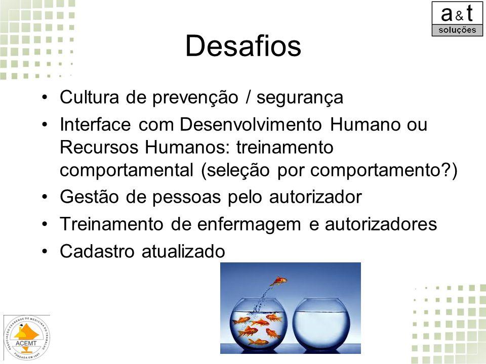 Desafios Cultura de prevenção / segurança Interface com Desenvolvimento Humano ou Recursos Humanos: treinamento comportamental (seleção por comportame