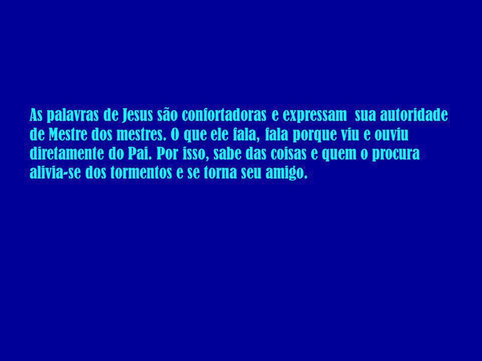 As palavras de Jesus são confortadoras e expressam sua autoridade de Mestre dos mestres. O que ele fala, fala porque viu e ouviu diretamente do Pai. P