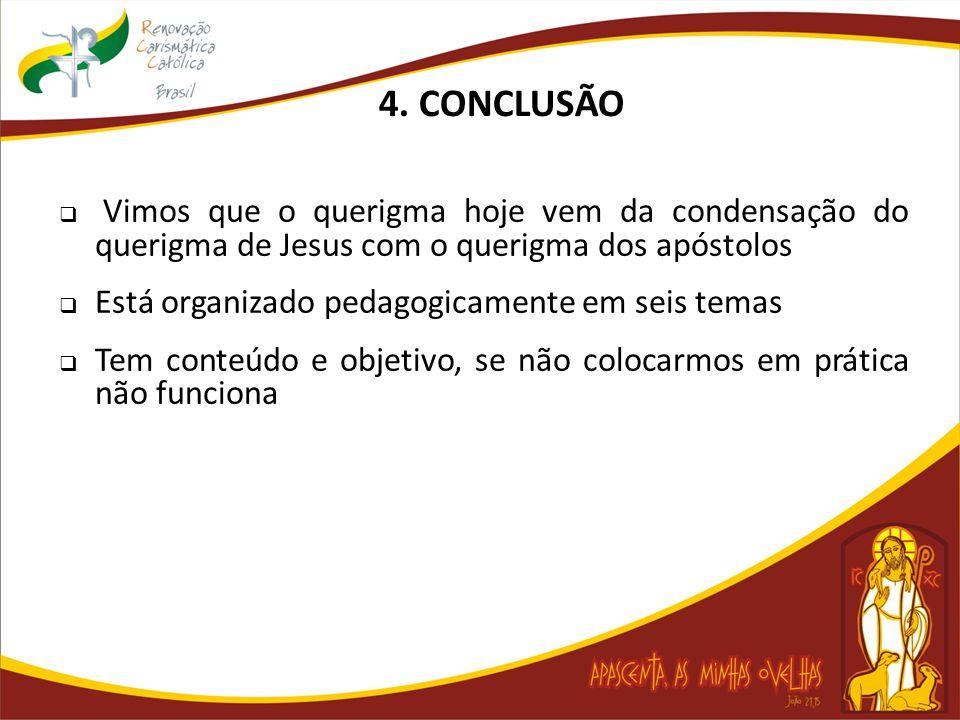  Vimos que o querigma hoje vem da condensação do querigma de Jesus com o querigma dos apóstolos  Está organizado pedagogicamente em seis temas  Tem