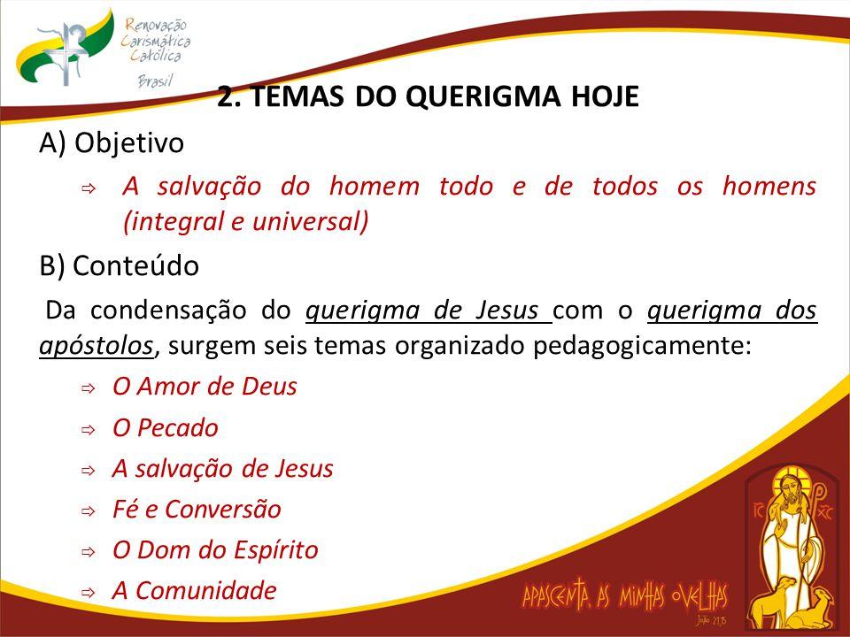 2. TEMAS DO QUERIGMA HOJE A) Objetivo  A salvação do homem todo e de todos os homens (integral e universal) B) Conteúdo Da condensação do querigma de